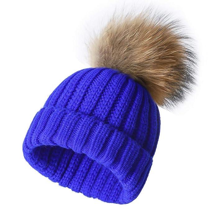 Roniky Winter Knit Hat Real Fox Raccoon Fur Pom Pom Womens Girls Knit Beanie  Hat e43e85c837e
