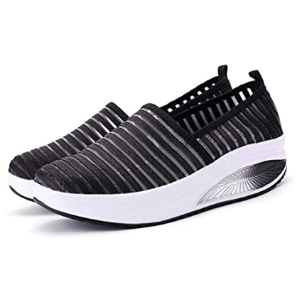 04eff1a6353 Amazon.com: ASO-SLING Women Wedges Sneakers Platform Stripped Mesh Ultra  Light Comfortable Casual Swing Shoes: Sports & Outdoors