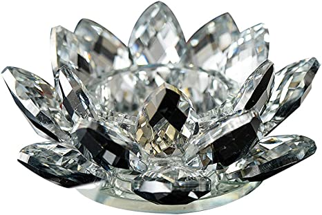 "NEW CRYSTAL GLASS LOTUS FLOWER TEA OR VOLTIVE CANDLE HOLDER 8/"" ROUND"