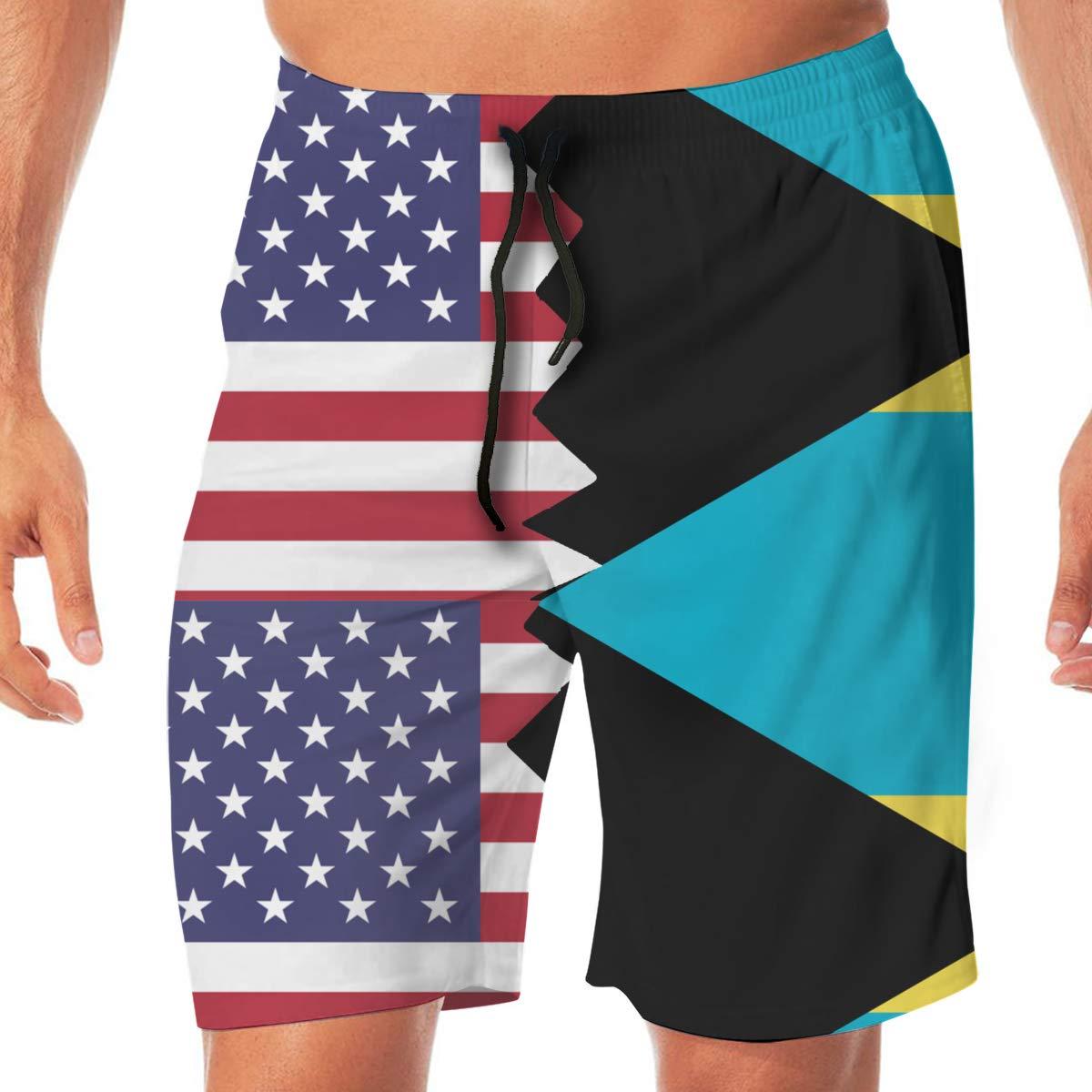 YGE.I.L25 Mens Swim Shorts American Bahamas Flag Summer Vacation Beach Board Short with Pocket