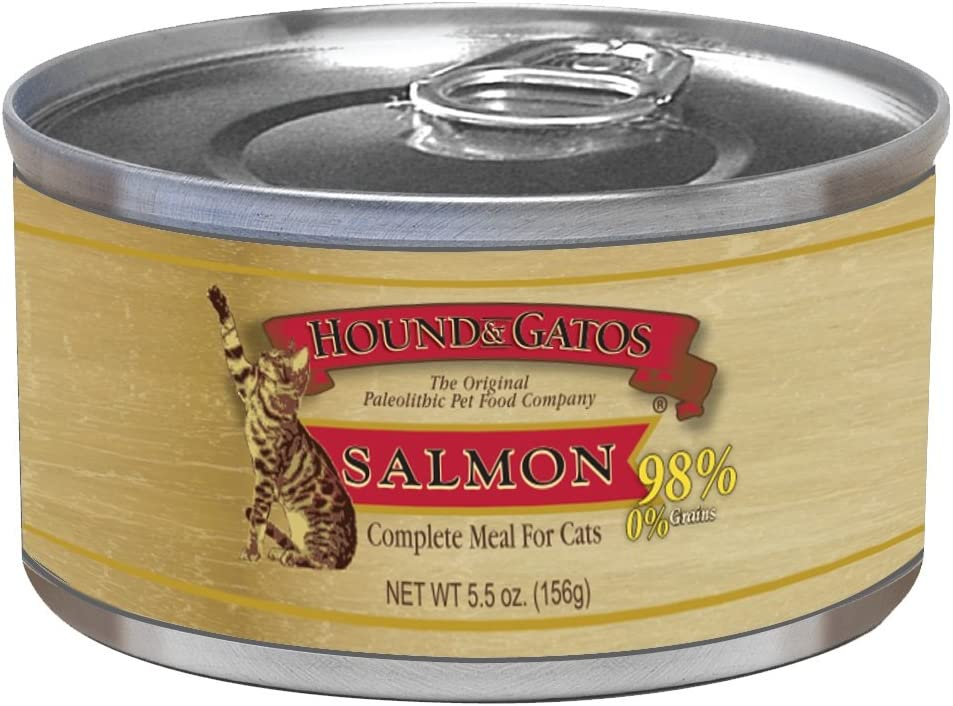 Hound & Gatos Pet Food Salmon Formula Canned Cat Food, 5.5 Oz., 24-Pack