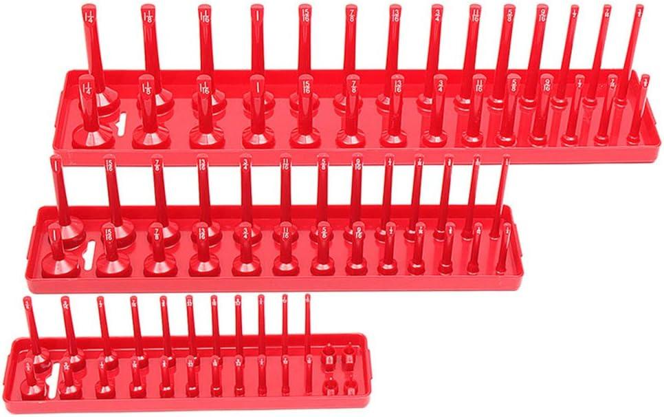 Guajave 3Pcs 90 Sockets Metric//SAE Socket Holder Tray Drive Direct Rail Rack Toolbox