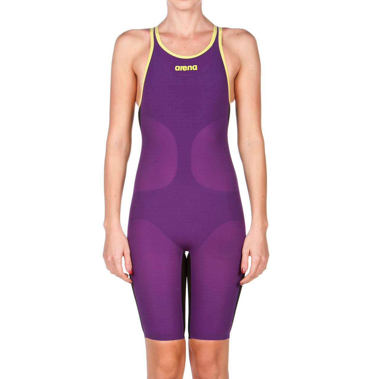 arena Powerskin Carbon Air FBSL Open Back Women's Racing Suit, Plum / Fluo Yellow, 22