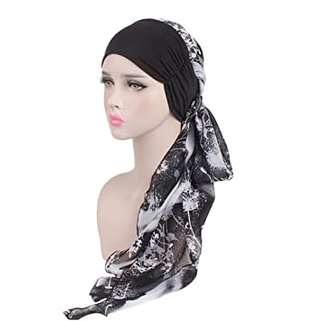12cd4563629e Moonuy Bohême Femmes Musulman Stretch Turban Chapeau Chemo Cap Perte de  cheveux Écharpe Tête Wrap Hijab