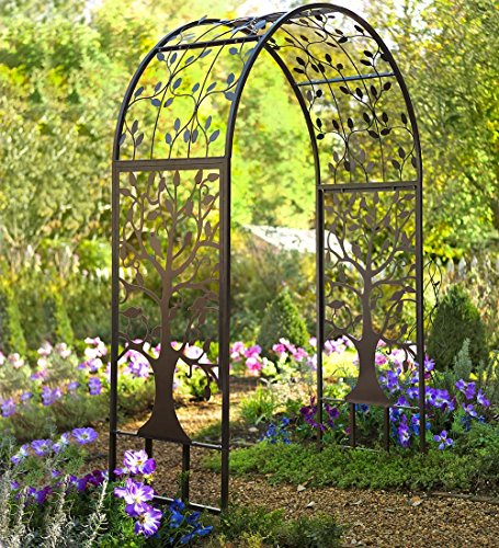 (Plow & Hearth Metal Garden Arbor with Tree of Life Design, Made of 100% Steel, Black and Burnished-Bronze Finish)