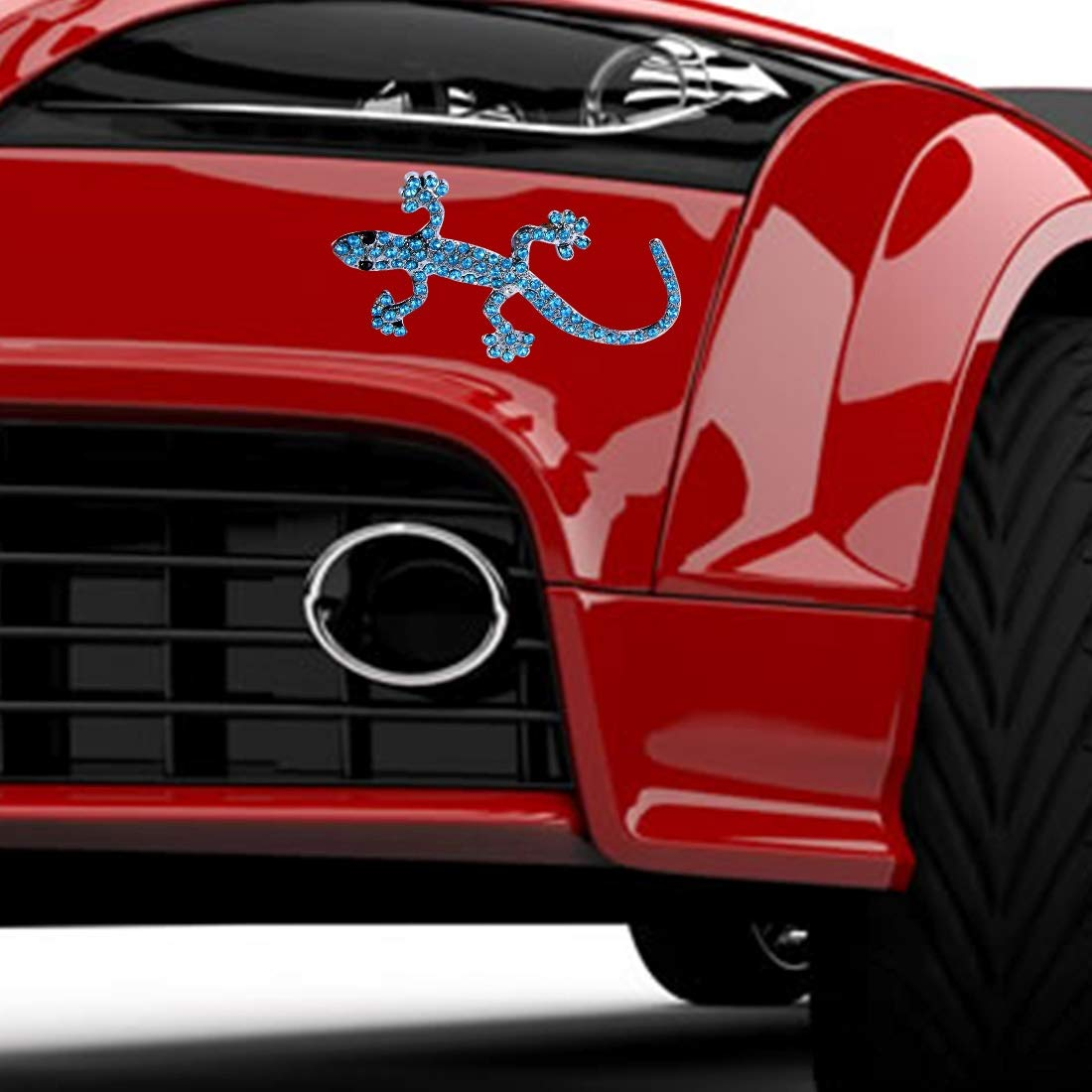 Realistic Rich-design Car Decoration QGT 3D Car Wall Decal Stickers Metal Gecko Texture Shape With Blue Diamond