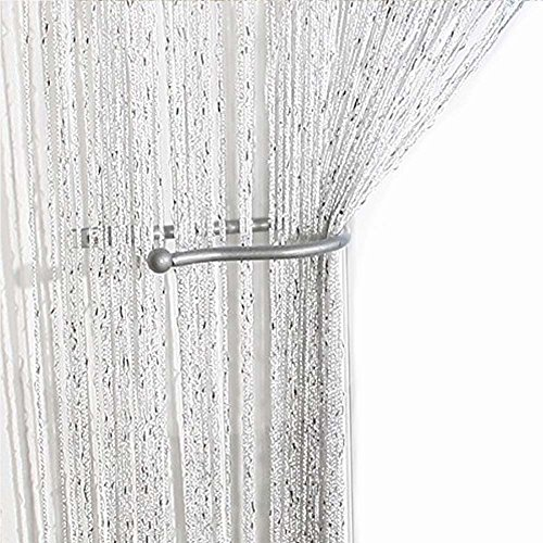 AIZESI 35IN x78.5IN Glitter String Curtain Panel,Window Panel Room Divider Strip Tassel for Wedding Coffee House Restaurant Parts,String Curtains White