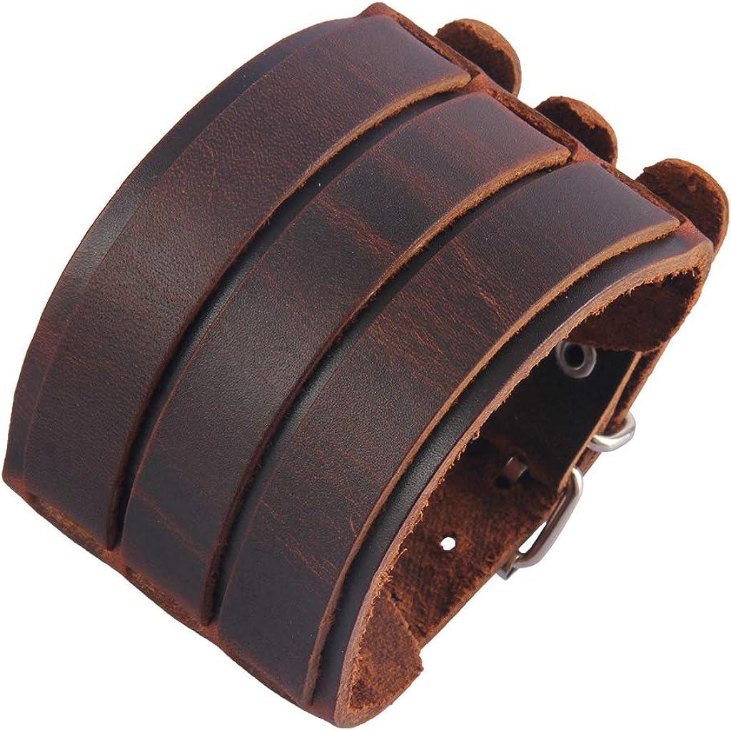 Vintage Light Tan leather ladies single buckle wrap cuff for petite wrists