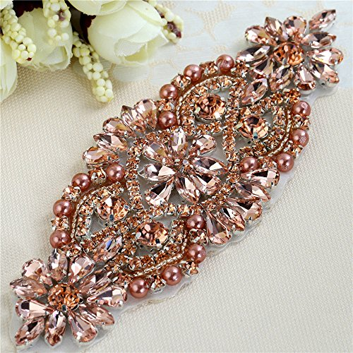 Handmade Crystal Patches Rhinestone Applique for Bridal Sash and Belts(Peach Crystals)