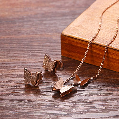 Cupimatch Frosted Butterfly Stud Earrings and Necklace Set, 18k Rose Gold Plated love Jewelry Gift Set for Women by Cupimatch (Image #5)