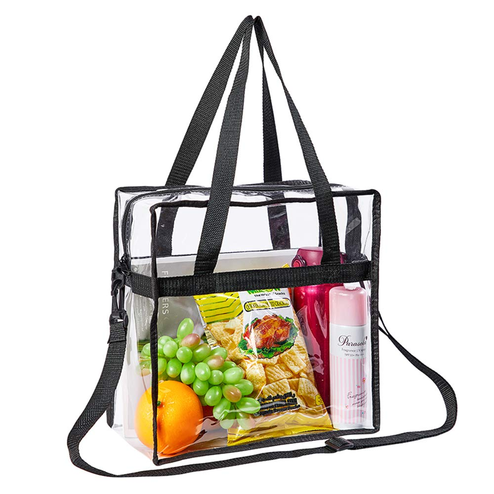Sports Games and Concert-12x12x6 inch School Eland Clear Tote Bag NFL Stadium Approved Security Approved Gym Clear Bag with Shoulder Strap and Zipper Closure Perfect for Work