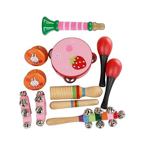 11pcs para niños pequeños instrumentos musicales de juguete para niños en edad preescolar Musicales Juguetes Set