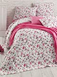 LaModaHome Flora Coverlet, 100% Cotton - A Lot of Pink Flowers, White, Patterned - Size (102.4'' x 86.6'') for King Bed