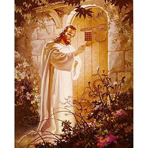 Dicksons Jesus Knocking At Heart's Door Golden Garden Hues 8 x 10 Wood Wall Sign Plaque (Door Heart)
