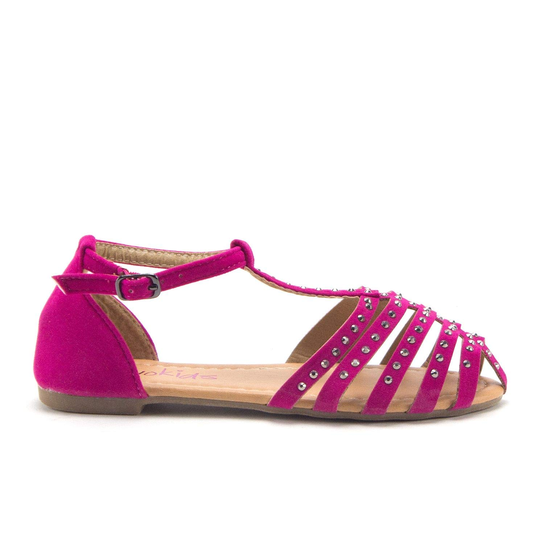 Jazam/é Little Toddler Girls Gladiator Flats Embellished T-Strap Closed Toe Sandals Shoes