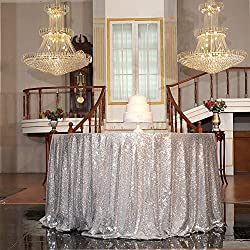 "PartyDelight Sequin Tablecloth, Christmas Tree Skirt, Round, 50"", Silver"