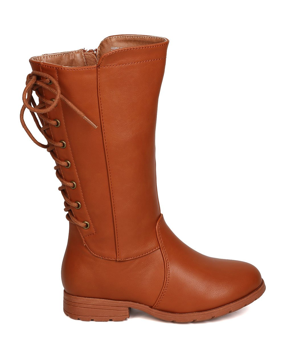 Girls Leatherette Back Lace Up Tall Riding Boot GB45 - Cognac (Size: Big Kid 3) by Little Angel (Image #2)