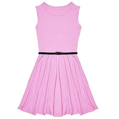 New Girls Plain Skater Dress Kids Party Dresses With Free Belt Age 7 8 9 10