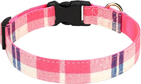 M Dog Harness with Flower Quick Release Buckle Adjustable Sizes XS Pink and Green Plaid S