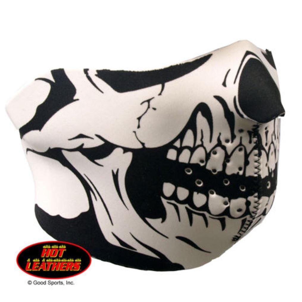 Hot Leathers Half Neoprene Face Mask Reversible to Solid Black Classic Black White Skull FMB1002
