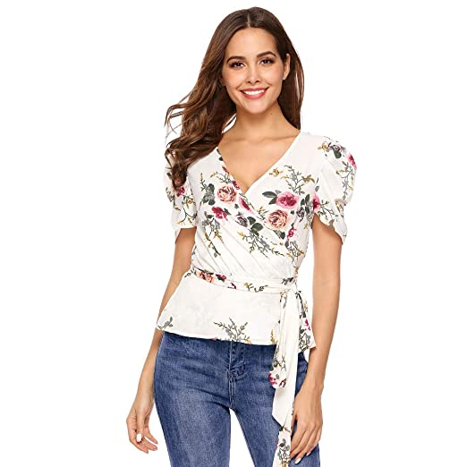 b04dfdaa Women Ruched Sleeve Tops -Chiffon Floral Print V Neck T Shirts -Crossover  Belt Tie Blouse Tops at Amazon Women's Clothing store: