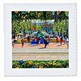 3dRose Alexis Photo-Art - Moscow City 2 - Artistic Moscow - Floral frame as the city decoration for Easter - 18x18 inch quilt square (qs_272398_7)