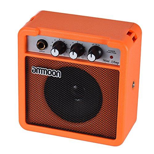 ammoon Amplificador para Guitarra Acústica/Eléctrica Ukulele Mini 5 Vatios 9V Pilas Alta Sensibilidad con Volume Tone Control (Naranja): Amazon.es: ...