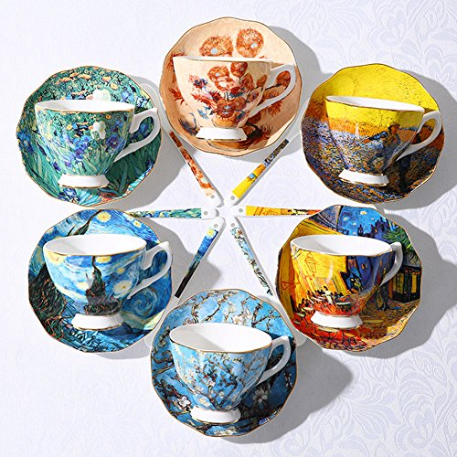 Vincent Van Gogh Bone China Tea Cup and Saucer Set With Gift Box, 8-Ounce Art Coffee Mugs Set (Set of 6) by Yosou Home (Image #5)