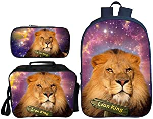 Asdfnfa Backpack Children's Three-Piece Suit 3D Printing Starry Sky Lion King Primary School Bag with Lunch Bag and Pencil Case (Color : 9)