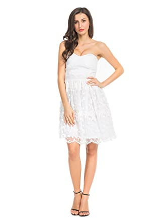 e14b9fe79736b Joeoy Women's White Floral Lace Sweetheart Bodice Strapless Fit and Flare  Short Dress-S