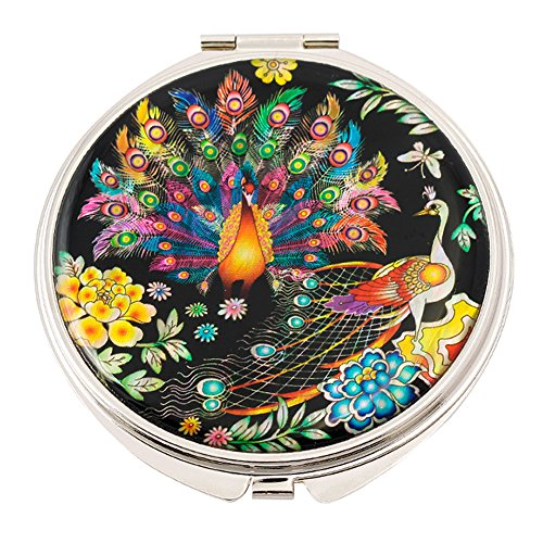 Mother of Pearl,Peacock Design Double Magnifying Compact ...