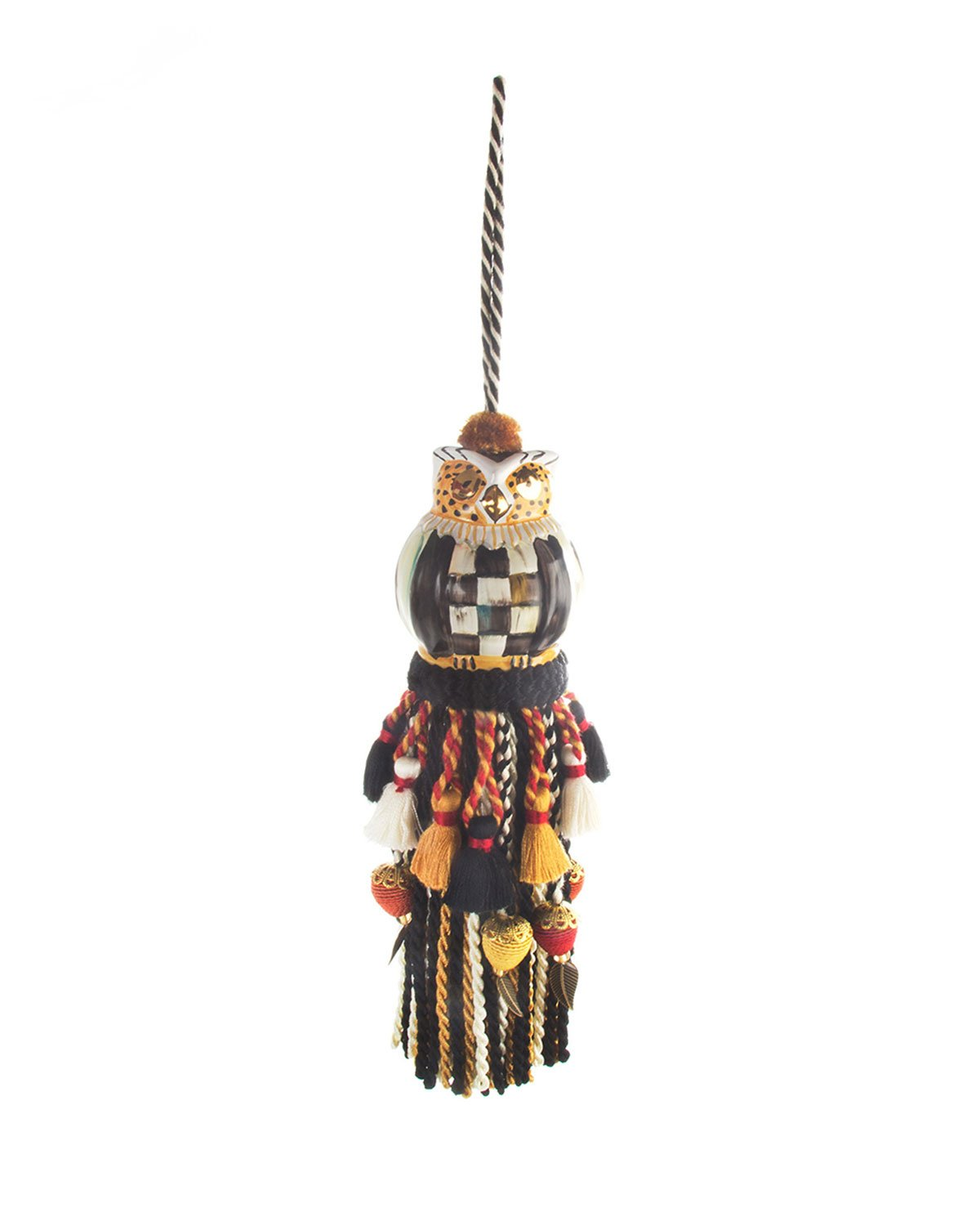 MacKenzie-Childs Courtly Check Owl Tassel, MULTI COLORS