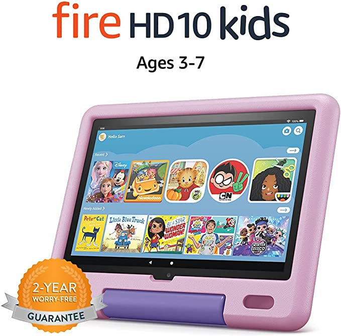"""All-new Fire HD 10 Kids tablet, 10.1"""", 1080p Full HD, ages 3–7, 32 GB, Lavender 