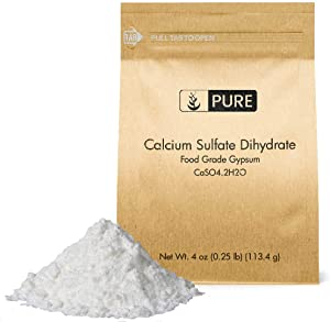 Calcium Sulfate (Gypsum) (4 oz.) by Pure Ingredients, Eco-Friendly Packaging, for Multiple Uses Including Baking, Water Treatment, Gardening