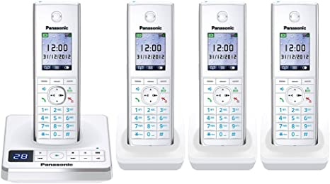 Panasonic kx-tg8564ew Quad Pack teléfono inalámbrico DECT en color blanco: Amazon.es: Electrónica