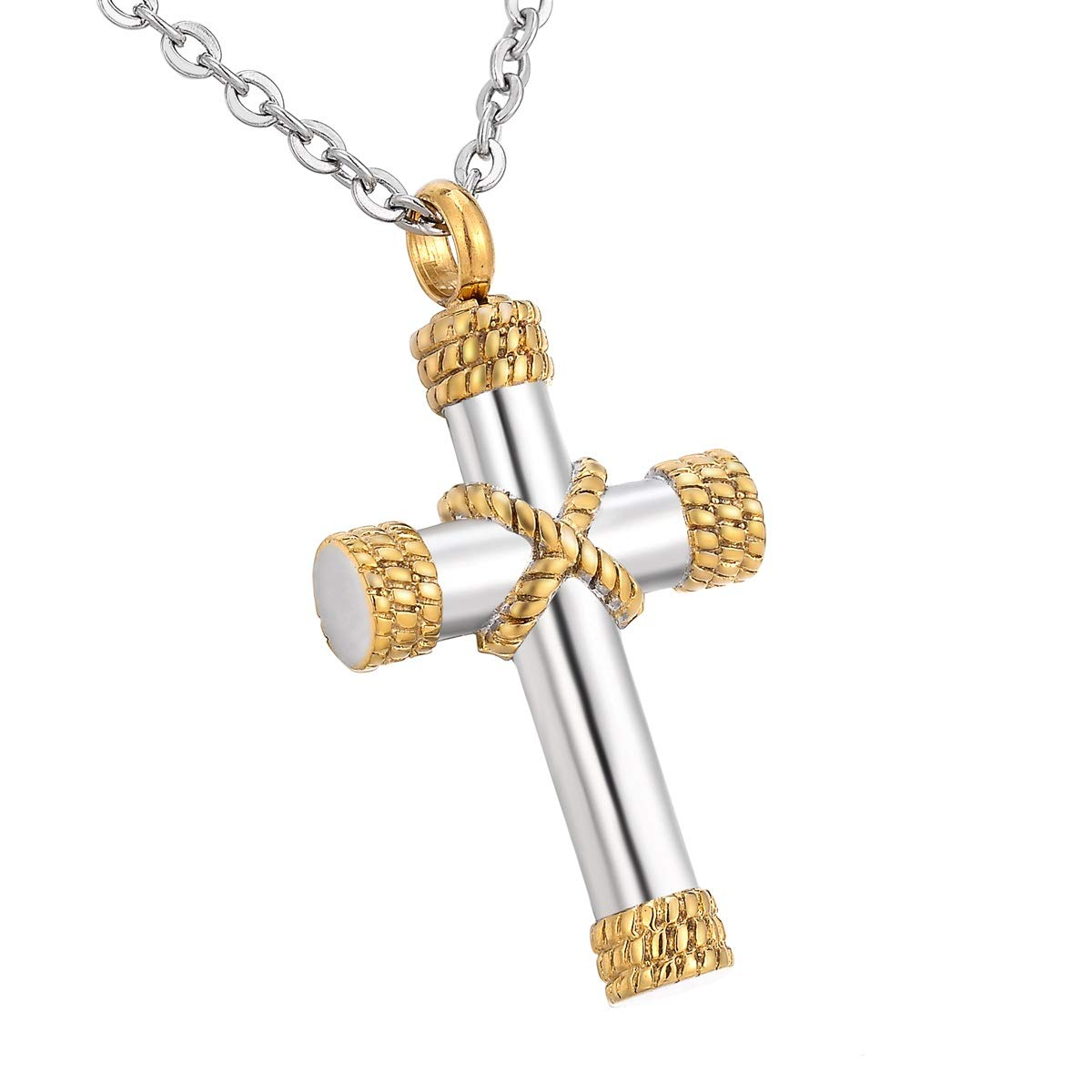 HooAMI Cremation Jewelry Cross Pendant Memorial Urn Necklace for Ashes Best-shopping LJ0AA04UR