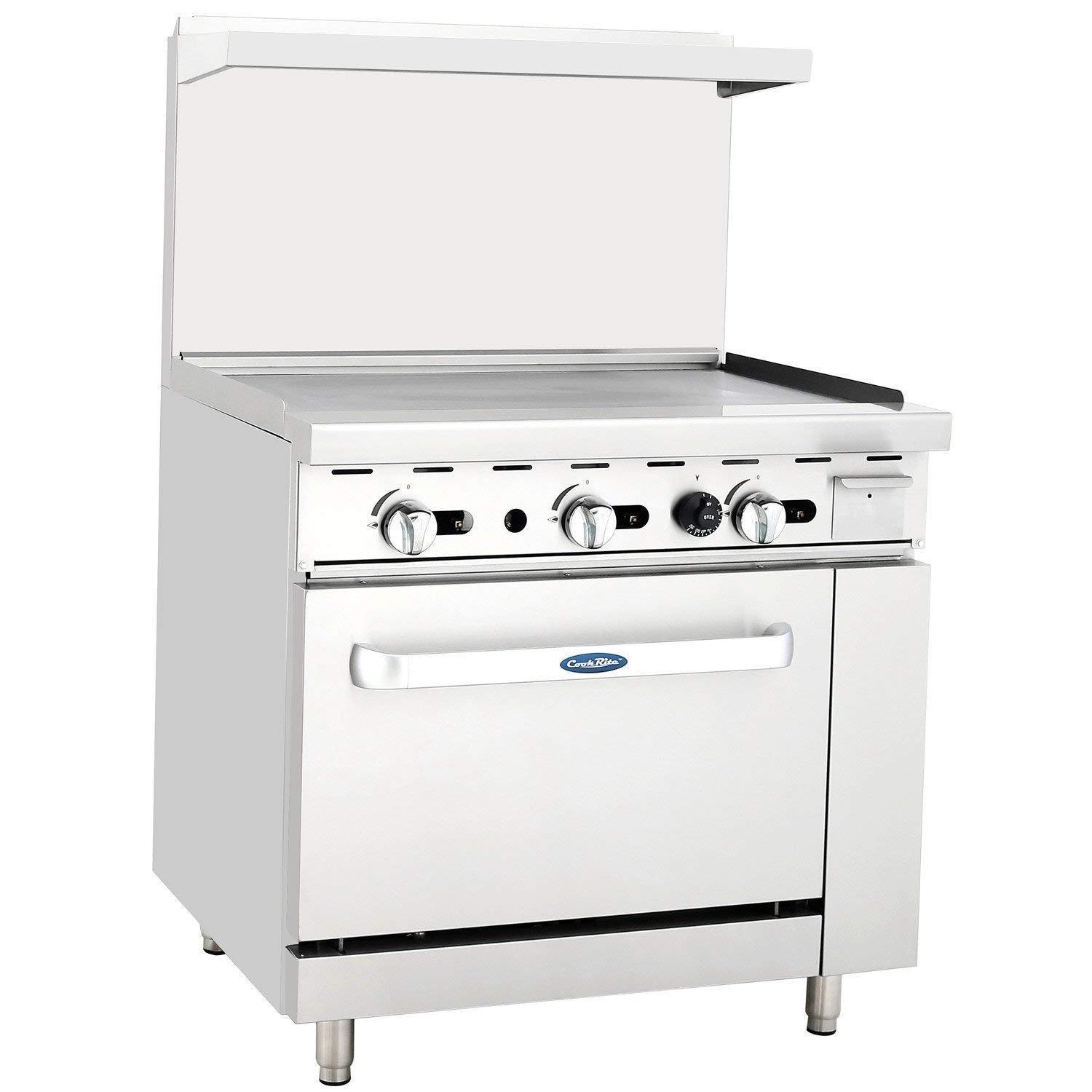 """ATOSA US ATO-36G Commercial Restaurant Griddle 36"""" Stainless Steel With Oven Cooks Standard Natural Gas Range - 102,000 BTU"""