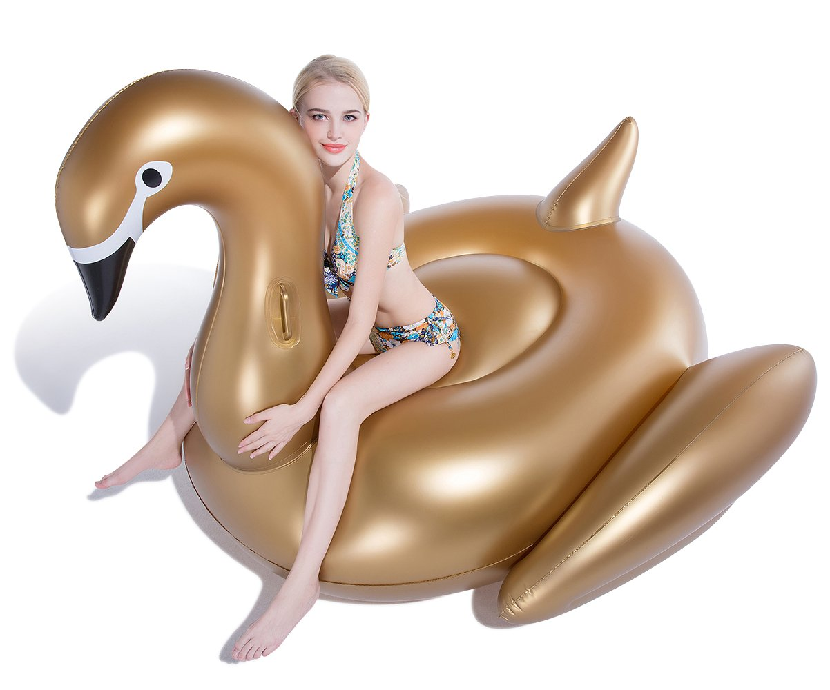 Jasonwell Giant Inflatable Golden Swan Pool Float Inflatable Party Float Toy with Rapid Valves Summer Outdoor Swimming Pool Lounge Raft Decorations Toys for Adults & Kids 75x 67 x 51.2-Inch by Jasonwell (Image #2)