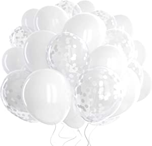 60 Pack White Balloons + White Confetti Balloons w/Ribbon | Latex Balloons 12 Inch | Balloon White | Bridal Shower Balloons | Wedding Balloons | Round Balloons | White Party Decorations |