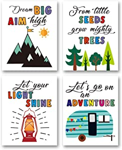 "XUN Colorful Camping Art Print- Outdoor Adventure Inspirational Quote Canvas Wall Art-(8""X10""X4 Pieces, Unframed)-Perfect for Office Nursery Decoration"