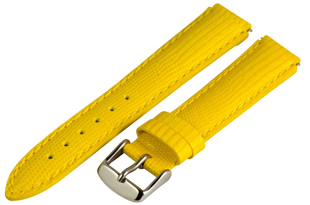 18mm x 15mm Leather Classic Lizard Yellow Interchangeable Watch Band Strap Fits Philip Stein Small