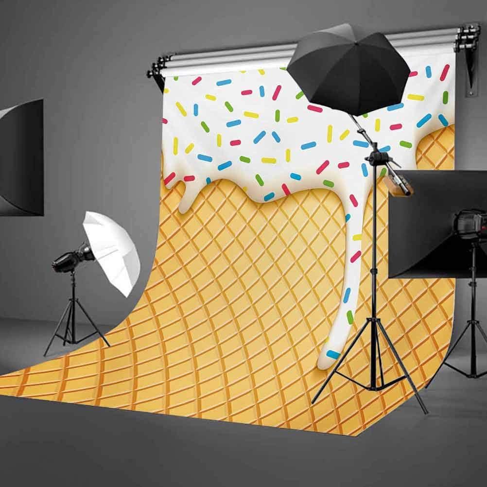 8x10 FT Backdrop Photographers,Cartoon Like Image of Melting Ice Cream Cones Colored Sprinkles Artistic Background for Kid Baby Boy Girl Artistic Portrait Photo Shoot Studio Props Video Drape Vinyl