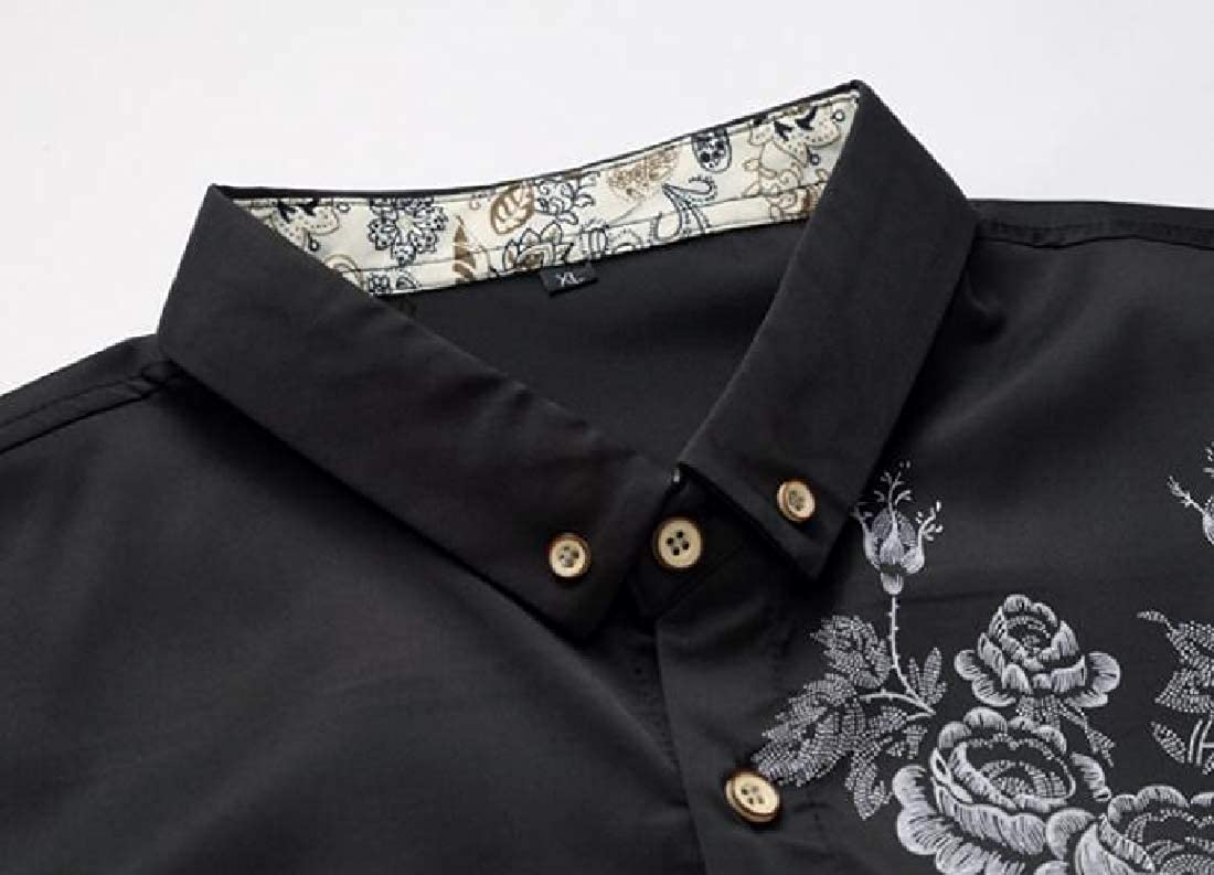 KLJR Men Long Sleeve Lapel Slim Fit Print Casual Business Button Up Dress Work Shirt