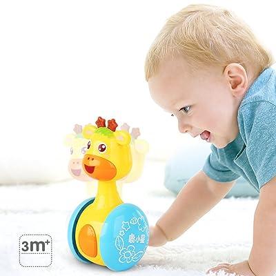 ETbotu Cartoon Giraffe Tumbler muñeca Roly-Poly Baby Juguetes Cute Rattles Ring Bell recién Nacidos 3-12 Meses Early Pädagogisches Juguetes: Hogar
