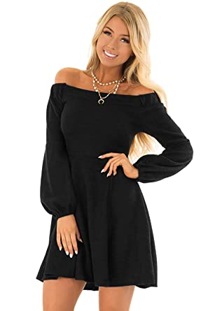 4d02c4c5425 Women's Autumn Holiday Off Strapless Shoulder Pleated Dress,Fashion Ladies  Puff Long Sleeve One-