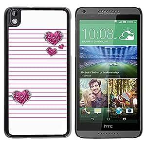 iKiki Tech / Estuche rígido - Pink Silver Glitter White Lines Pattern - HTC DESIRE 816