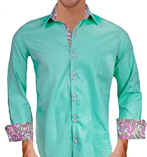 product image for Light Green with Pink Designer Dress Shirts - Made in USA
