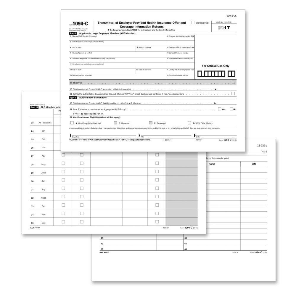 Amazon.com : Form 1095-C Health Coverage and Envelopes (includes 3 1094-B  transmittal forms), Pack of 150 Forms : Office Products
