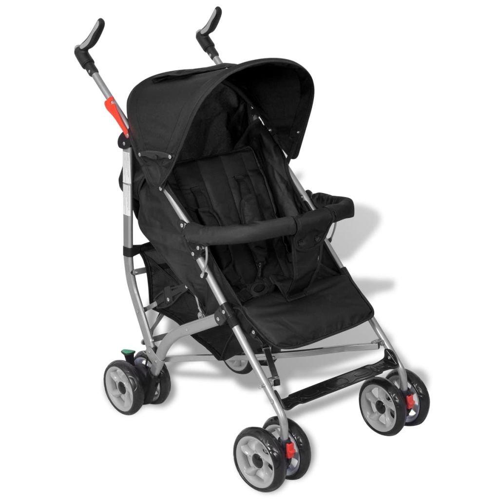 vidaXL Baby Reise-Kinderwagen Reisebuggy 5 Liegepositionen Klappbar Schwarz