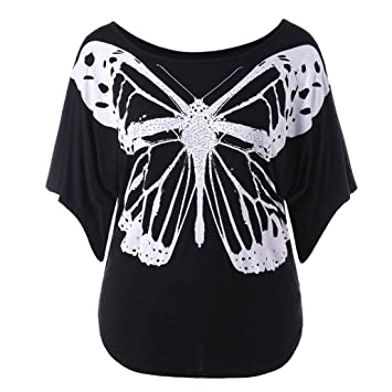 bf171a99040 ESAILQ Tops Women Casual Plus Size Print Butterfly T-shirt Blouse   Amazon.co.uk  Sports   Outdoors